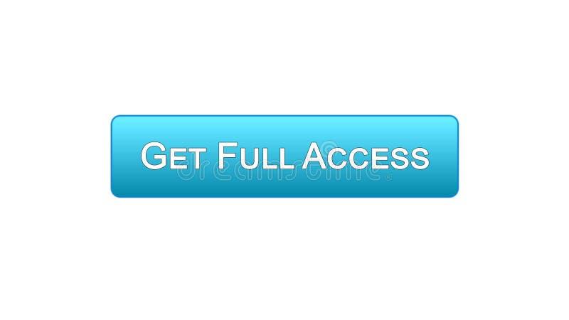 Ottenga a bottone dell'interfaccia di web di pieno accesso il colore blu, il programma online, sottoscrizione royalty illustrazione gratis