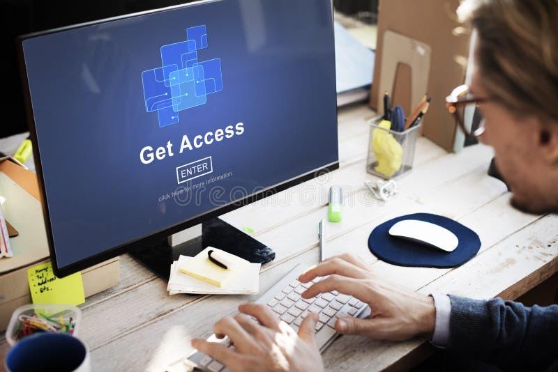 Ottenga a disponibilità di Access la tecnologia online ottenibile Co di Internet immagini stock libere da diritti