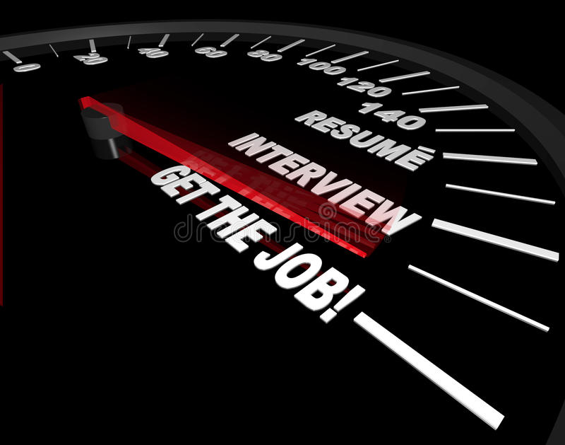 Ottenga il job - processo di intervista - tachimetro illustrazione vettoriale