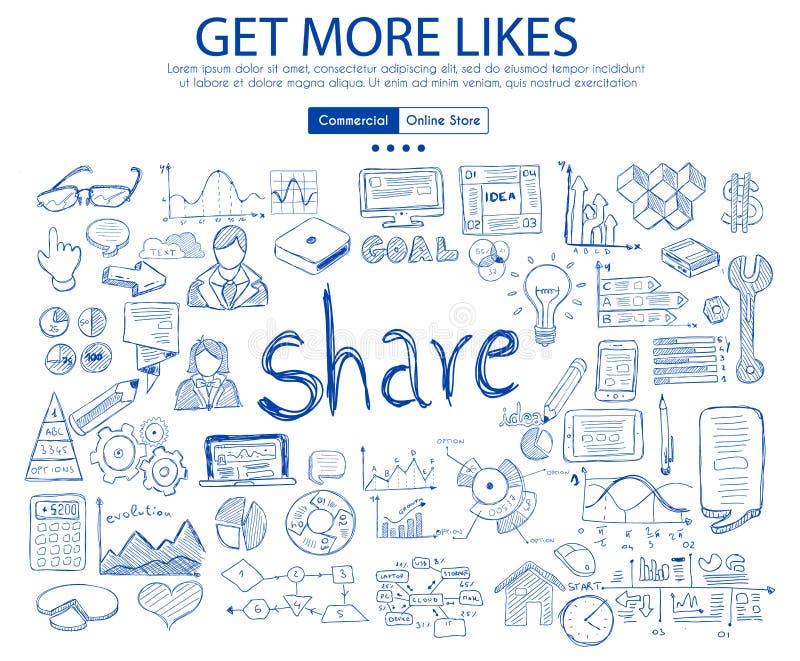 Ottenga a più simili il concetto sociale di media con progettazione di scarabocchio di affari illustrazione vettoriale