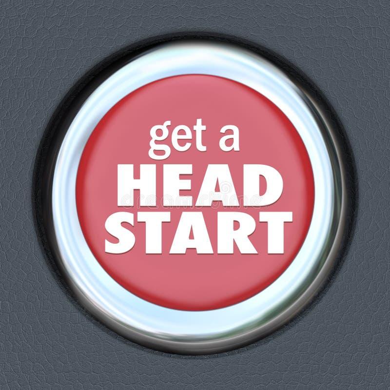Ottenga a vantaggio acquisito all'inizio di una gara il vantaggio competitivo del bottone rosso il bordo in anticipo royalty illustrazione gratis