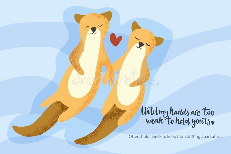 Otter aquatisch stel dat samenzwemt royalty-vrije illustratie