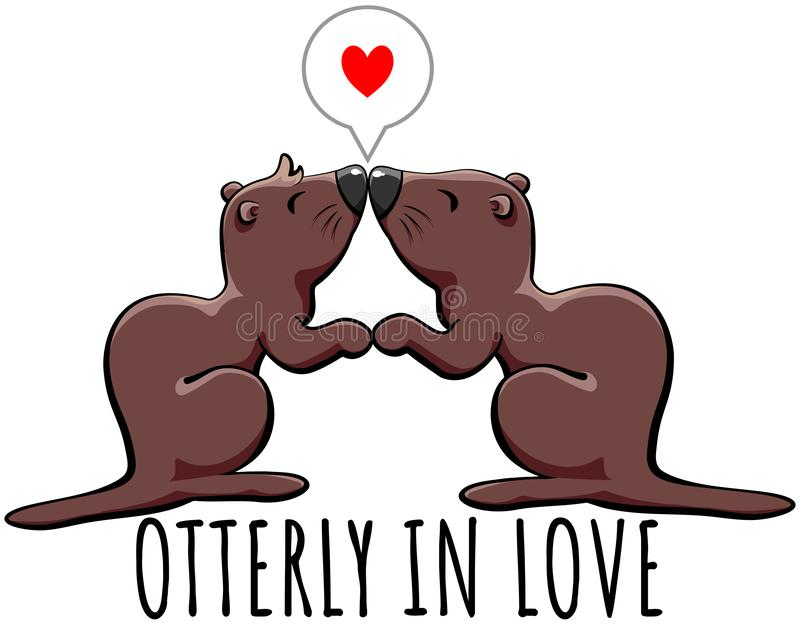 Otterly in love - cute otters holding hands and kissing. Couple of cute otters who are utterly in love, holding hands and kissing. Ideal present for Valentine stock illustration