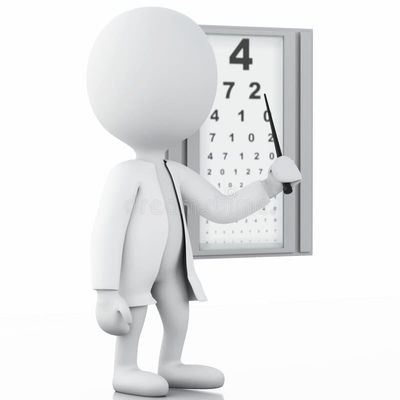 ottico della gente bianca 3d con il controllo oftalmologico illustrazione vettoriale