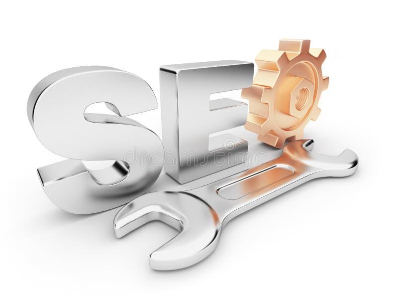 Ottimizzazione 3D di SEO. Commercio in Internet. royalty illustrazione gratis