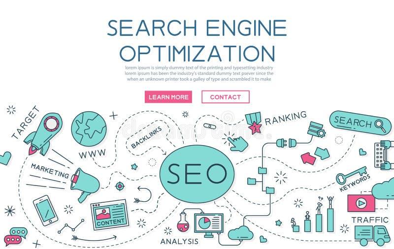 Ottimizzazione del motore di ricerca per l'insegna del sito Web e la pagina di atterraggio illustrazione vettoriale