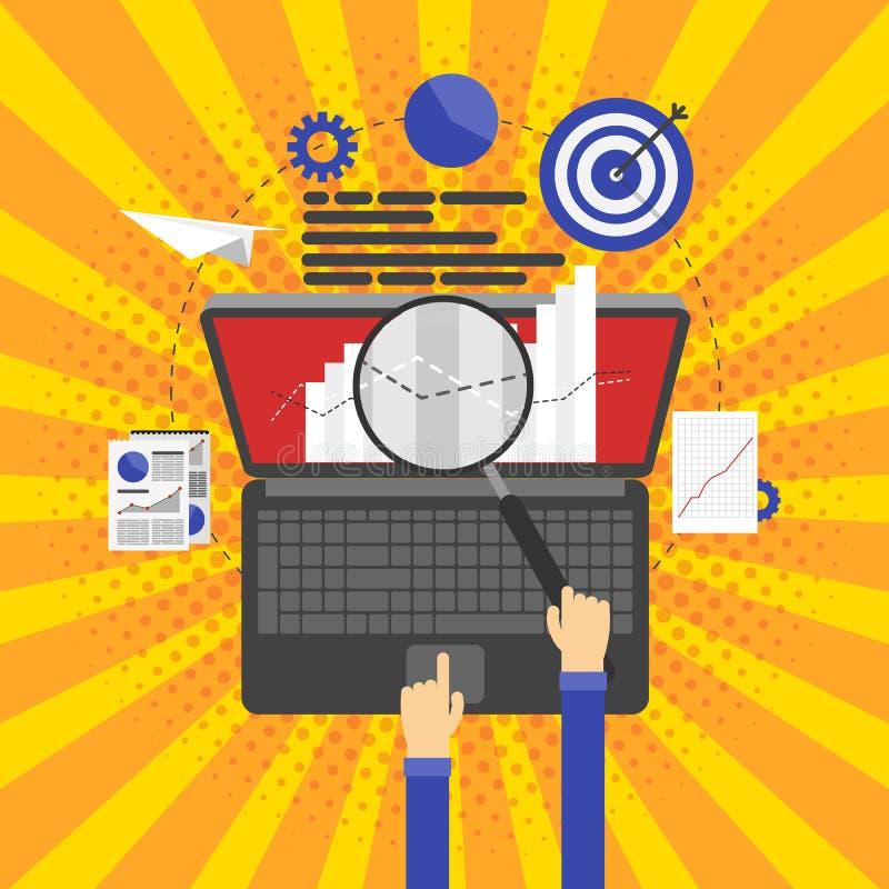 Ottimizzazione di SEO, programmare e analisi dei dati di web illustrazione vettoriale