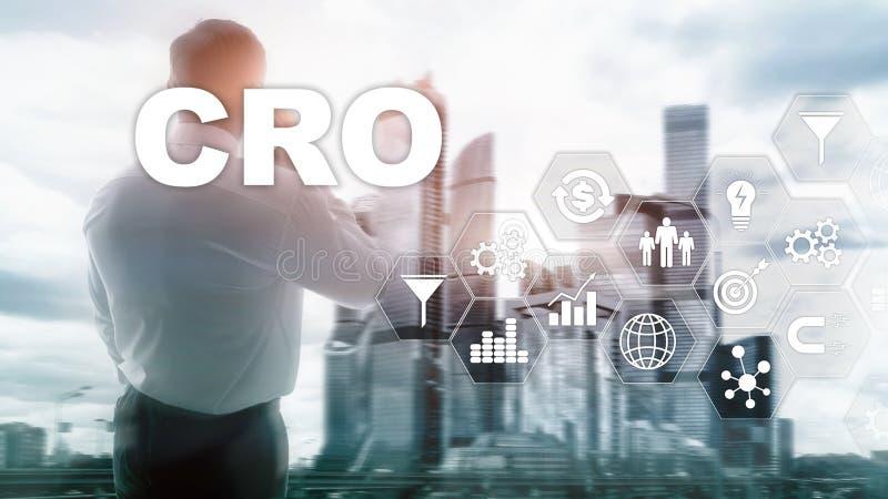 Ottimizzazione di tasso di conversione Concetto di finanza di tecnologia di affari dell'ASS.COMM. su uno schermo virtuale immagine stock libera da diritti
