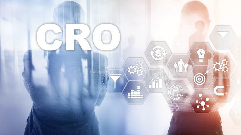 Ottimizzazione di tasso di conversione Concetto di finanza di tecnologia di affari dell'ASS.COMM. su uno schermo virtuale fotografie stock libere da diritti