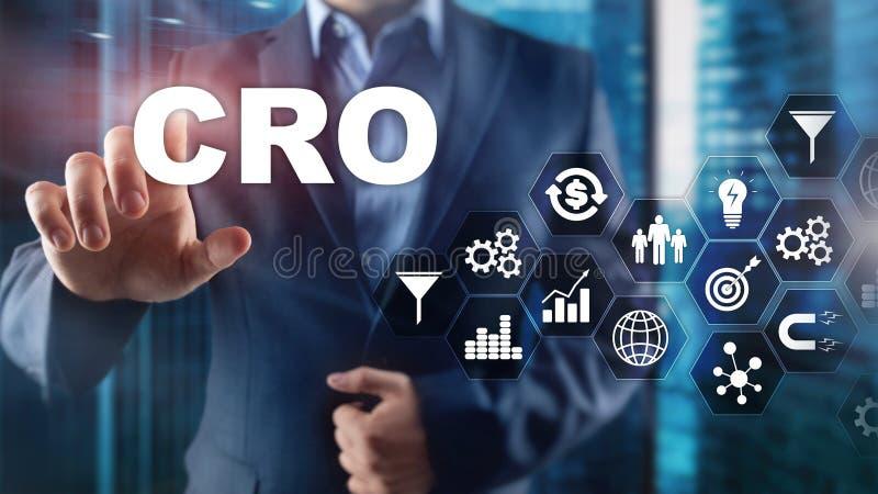 Ottimizzazione di tasso di conversione Concetto di finanza di tecnologia di affari dell'ASS.COMM. su uno schermo virtuale immagine stock