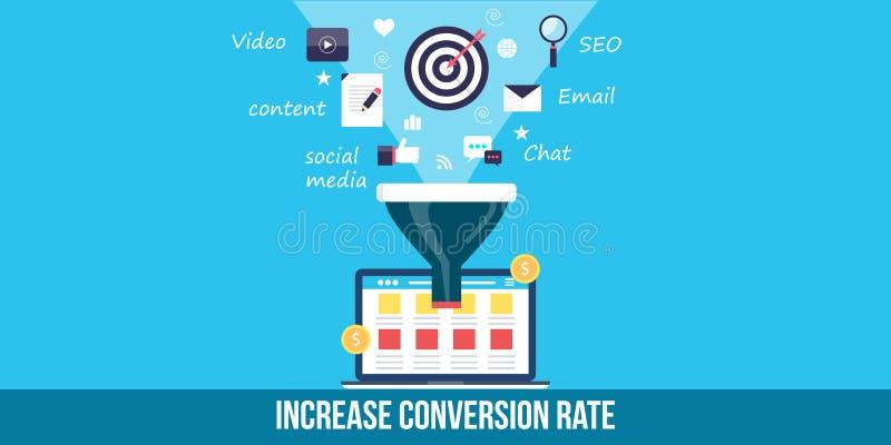 Ottimizzazione di tasso di conversione - insegna piana di web di progettazione royalty illustrazione gratis