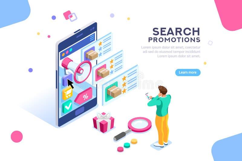 Ottimizzazione sociale di campagna del motore di ricerca di promozione illustrazione di stock