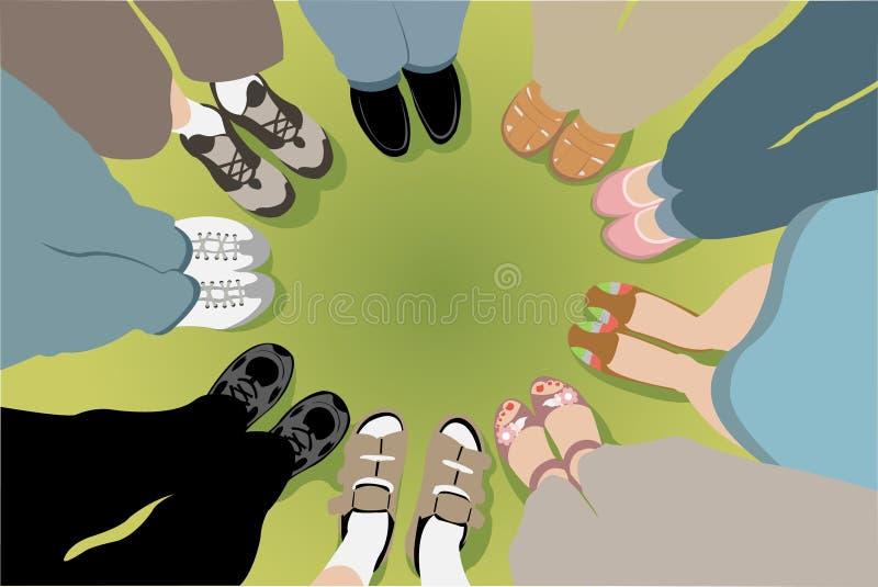 Otto amici si levano in piedi nel cerchio illustrazione di stock