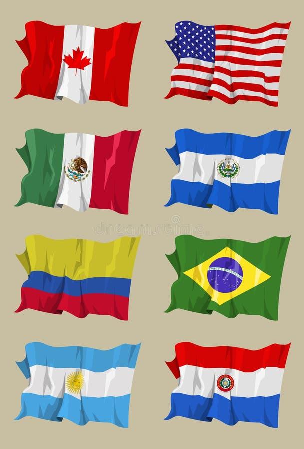Otto bandiere americane illustrazione di stock