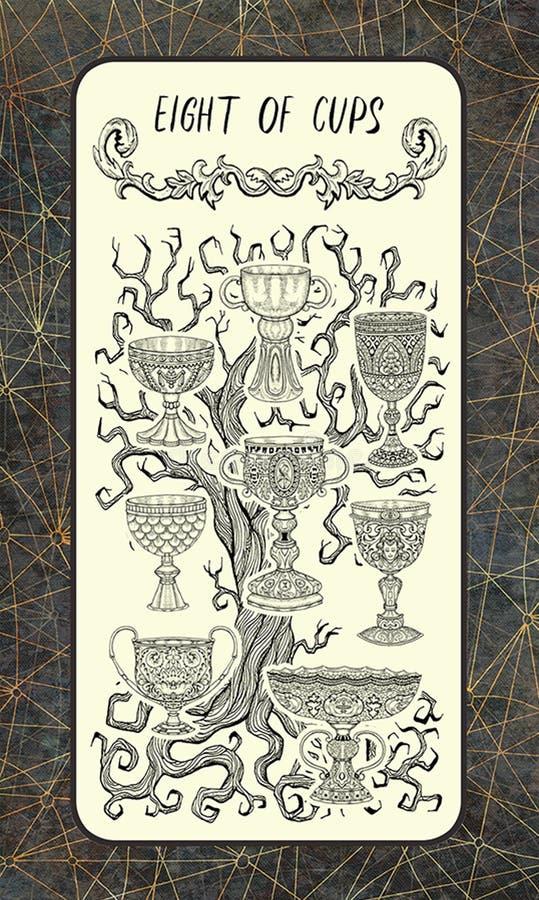 Otto delle tazze La carta di tarocchi magica del portone illustrazione di stock