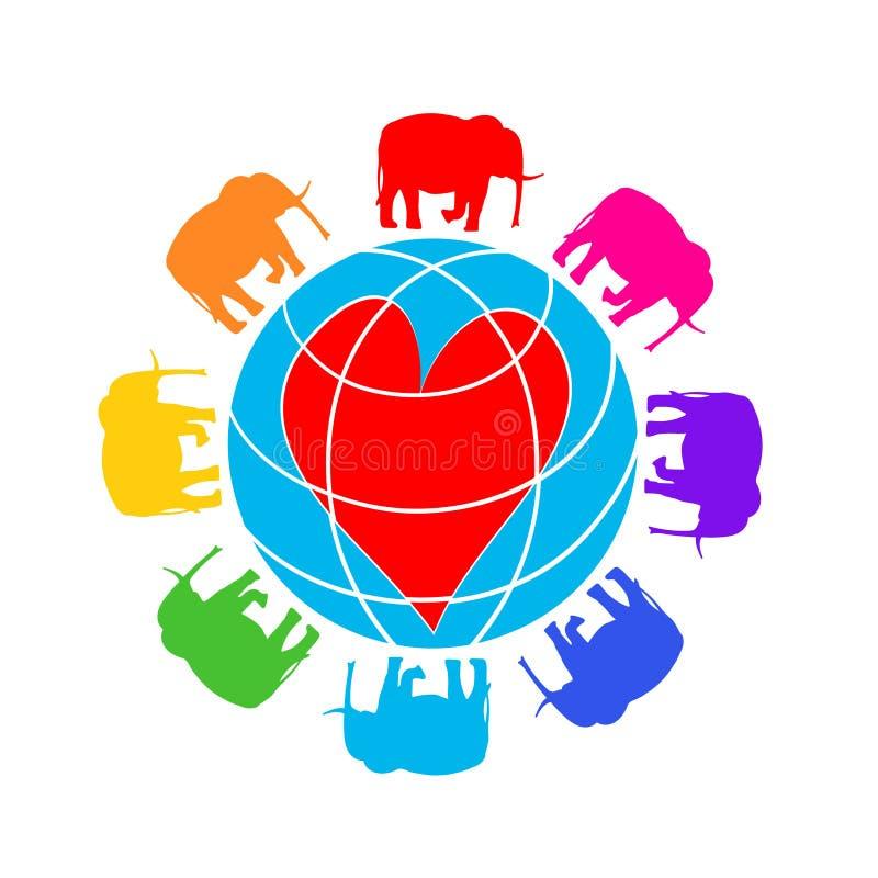 Otto elefanti intorno al globo con un cuore illustrazione colorata, illustrazione disegnata a mano isolata su bianco, logo, magli royalty illustrazione gratis