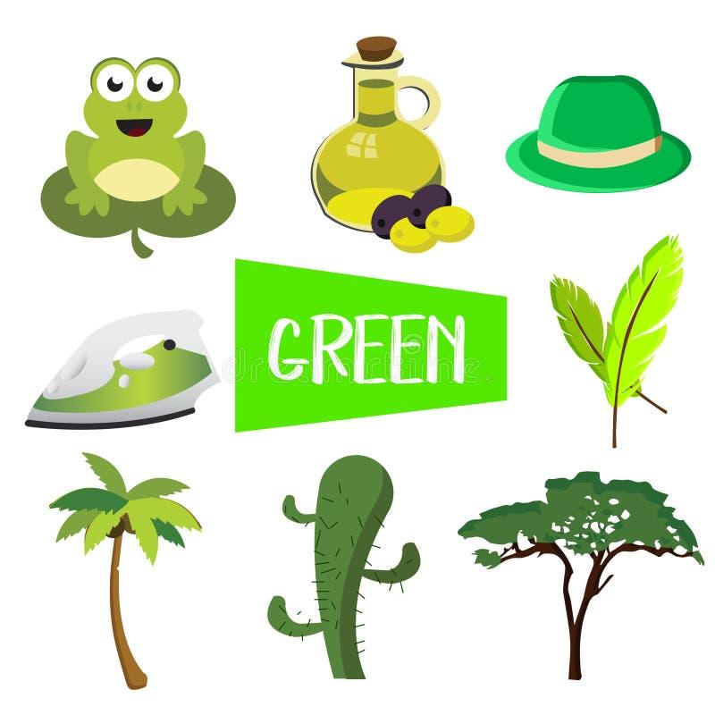 Otto illustrazioni nel colore verde royalty illustrazione gratis