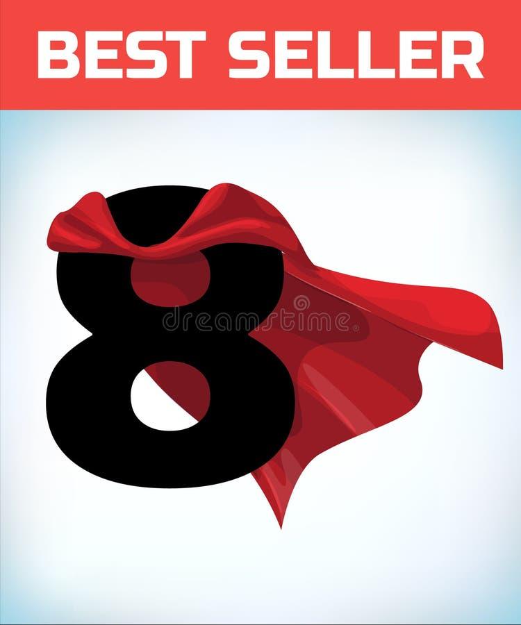 Otto nel capo rosso dell'eroe Mantello eccellente Superpotenza Concetto di potere Segno di direzione Simbolo del supereroe illustrazione vettoriale