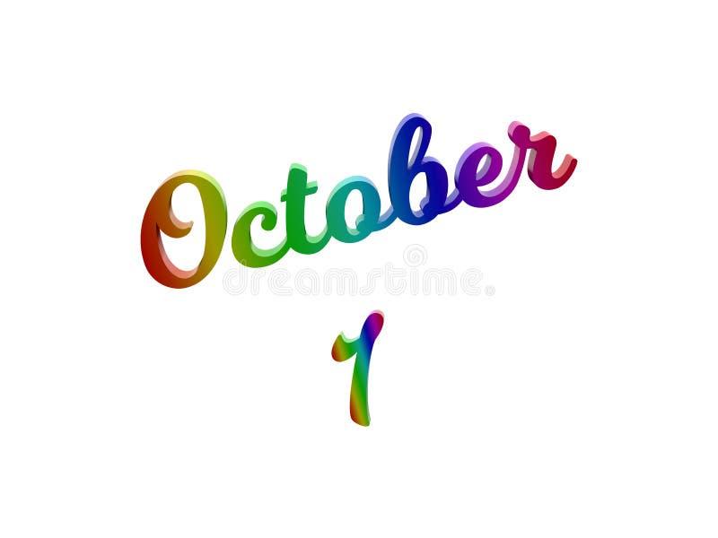 1° ottobre data del calendario di mese, 3D calligrafico ha reso l'illustrazione del testo colorata con la pendenza dell'arcobalen royalty illustrazione gratis
