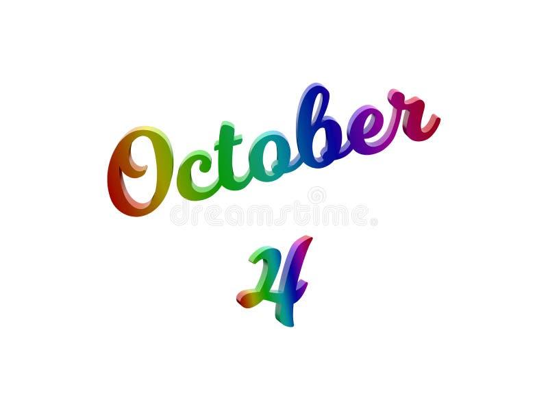 4 ottobre data del calendario di mese, 3D calligrafico ha reso l'illustrazione del testo colorata con la pendenza dell'arcobaleno illustrazione di stock