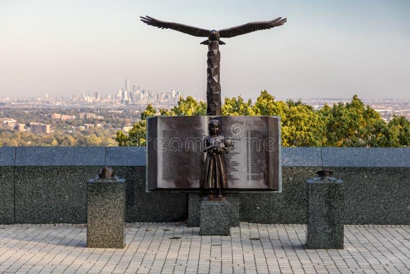 16 ottobre 2016 - 9/11 di Eagle Rock Reservation commemorativo in West Orange, New Jersey con la vista di New York fotografie stock libere da diritti