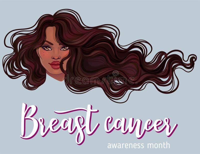 Ottobre: Mese di consapevolezza del cancro al seno, campagna annuale per aumentare consapevolezza della malattia Donna afroameric illustrazione vettoriale