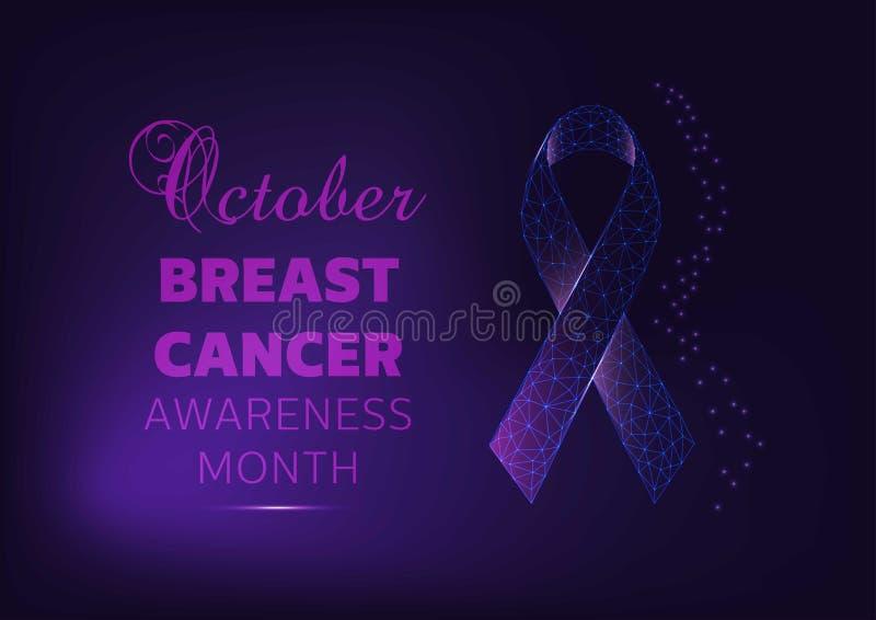 Ottobre - modello dell'insegna di campagna di mese di consapevolezza del cancro al seno con il nastro d'ardore su fondo blu scuro royalty illustrazione gratis