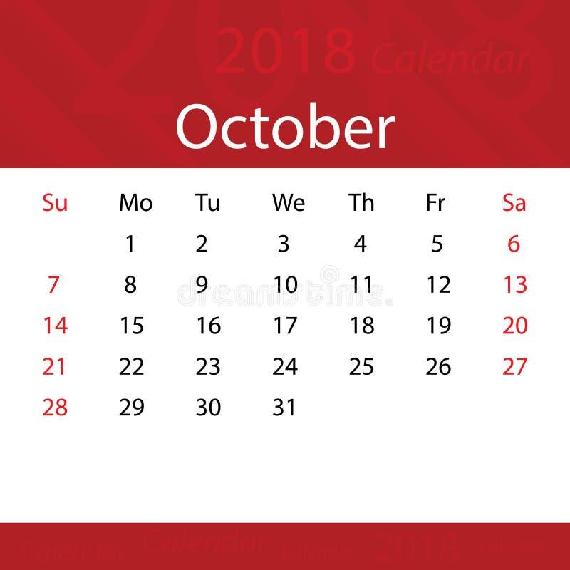 Ottobre 2018 premio rosso popolare del calendario per l'affare illustrazione di stock