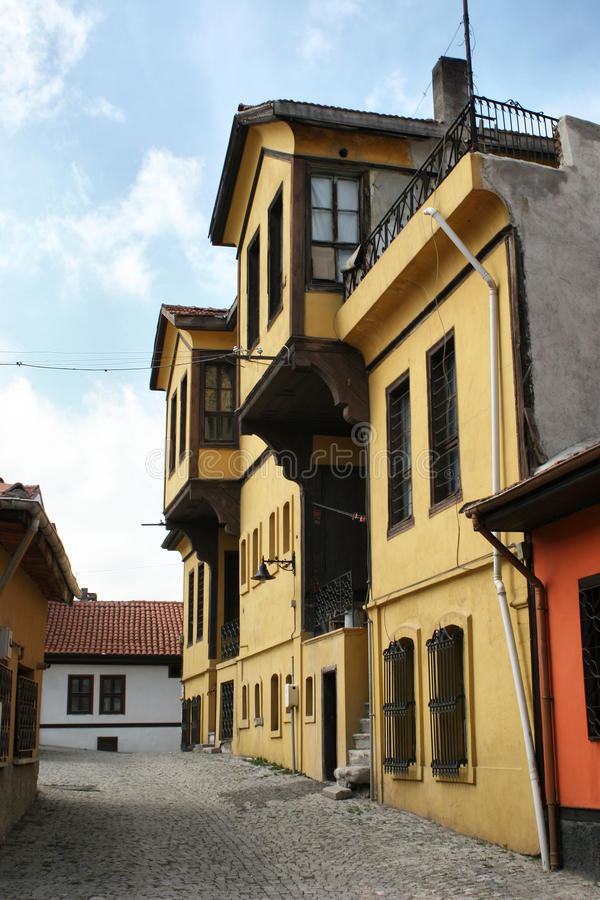 Ottoman architecture / colorful odunpazari homes. Historical Ottoman Homes and a street from Odunpazari/Eskisehir stock photography