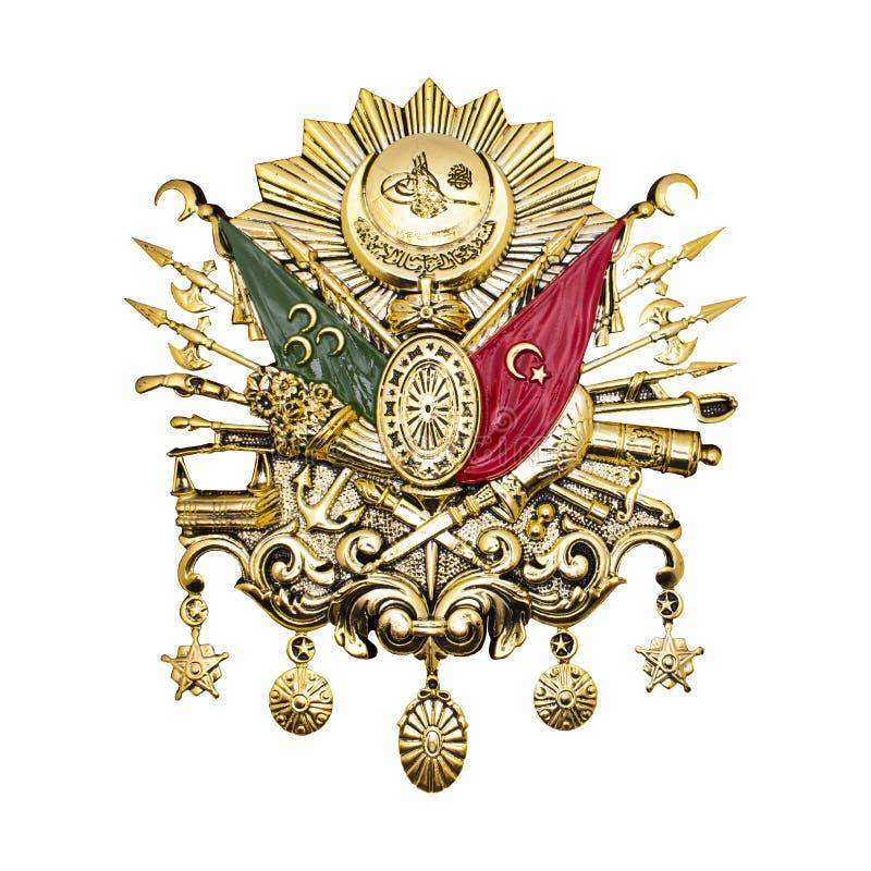 Ottoman Empire Emblem. Golden-leaf Ottoman Empire Emblem. stock illustration