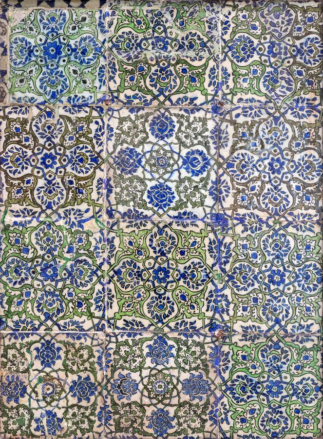 Ottoman era style glazed ceramic tiles decorated with floral ornamentations royalty free stock photo