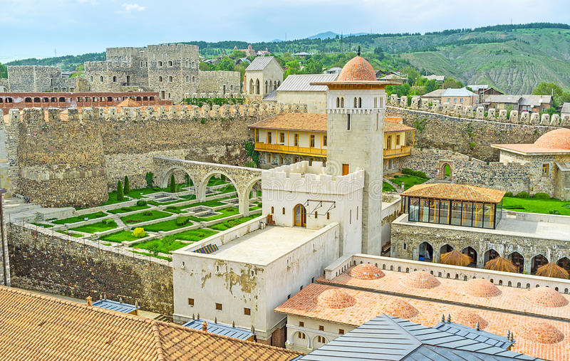 The Ottoman fortress in Georgia. The Rabati Castle restored as Ottoman complex, including mosques with mnarets, hammam, caravan saray and gardens, Akhaltsikhe royalty free stock image