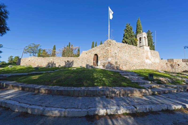The Ottoman fortress of Karababa at Chalkis. View of the Ottoman fortress of Karababa at Chalkis, Greece royalty free stock photo