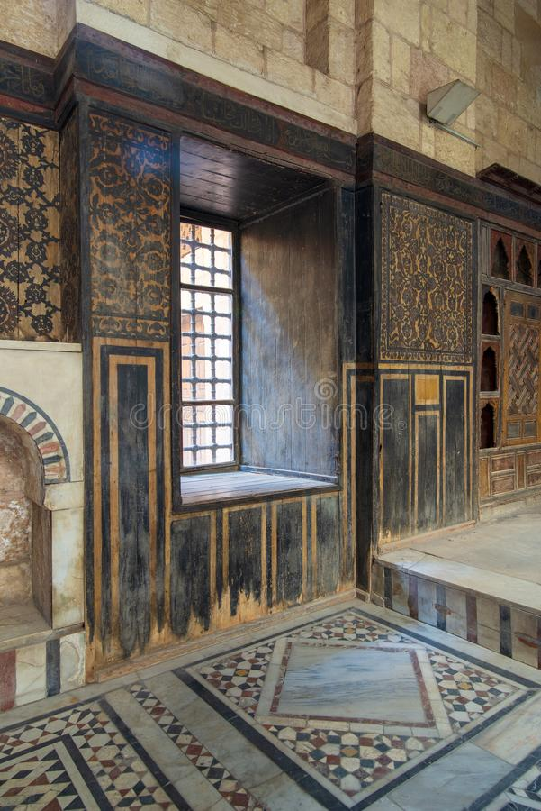 Ottoman historic house of Moustafa Gaafar, Darb Al Asfar District, Cairo, Egypt with decorated wooden wall and marble floor stock image