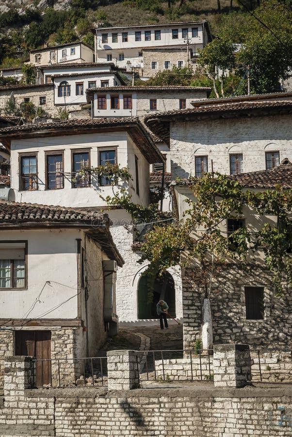 Ottoman architecture view in historic berat old town albania stock image