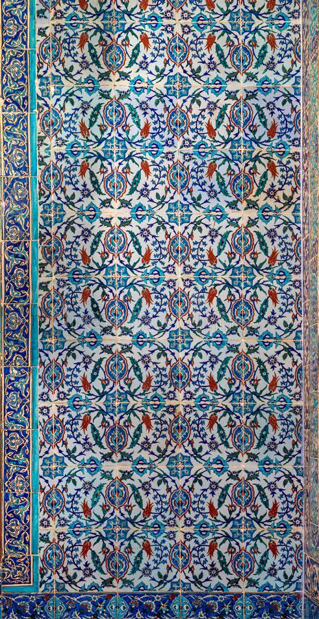 Ottoman style glazed ceramic tiles decorated with floral ornamentations manufactured in Iznik royalty free stock images