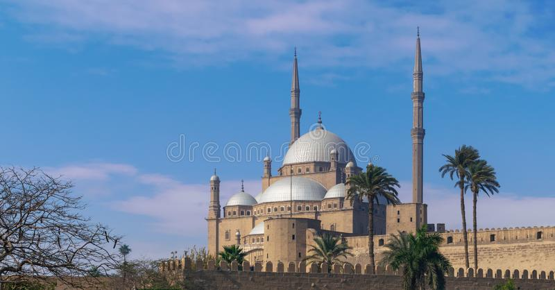 Ottoman style Great Mosque of Muhammad Ali, Citadel of Cairo, commissioned by Muhammad Ali Pasha, Cairo, Egypt. Ottoman style Great Mosque of Muhammad Ali Pasha stock photography