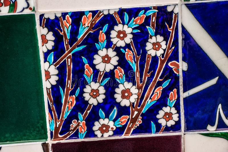 Ottoman style handmade Turkish Tiles with floral patterns royalty free stock image