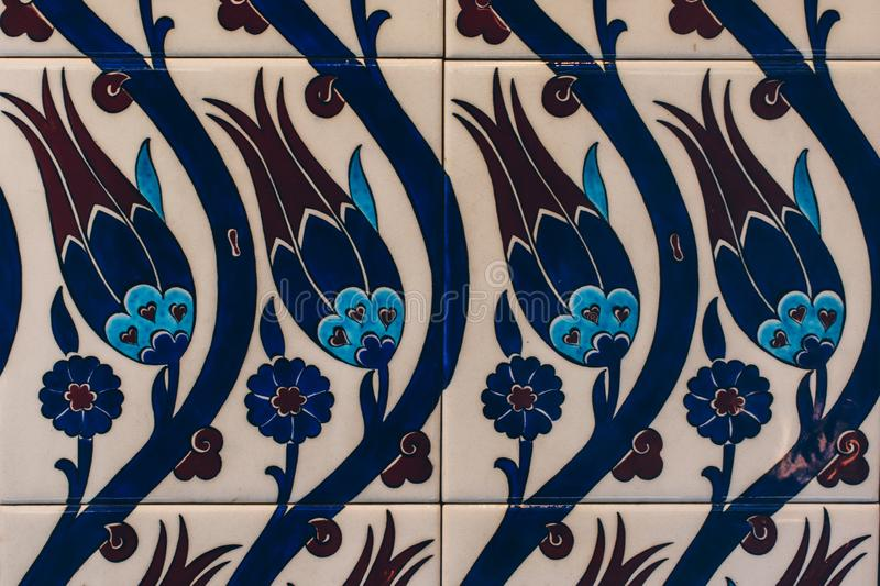 Ottoman style handmade turkish tiles with floral patterns stock photos