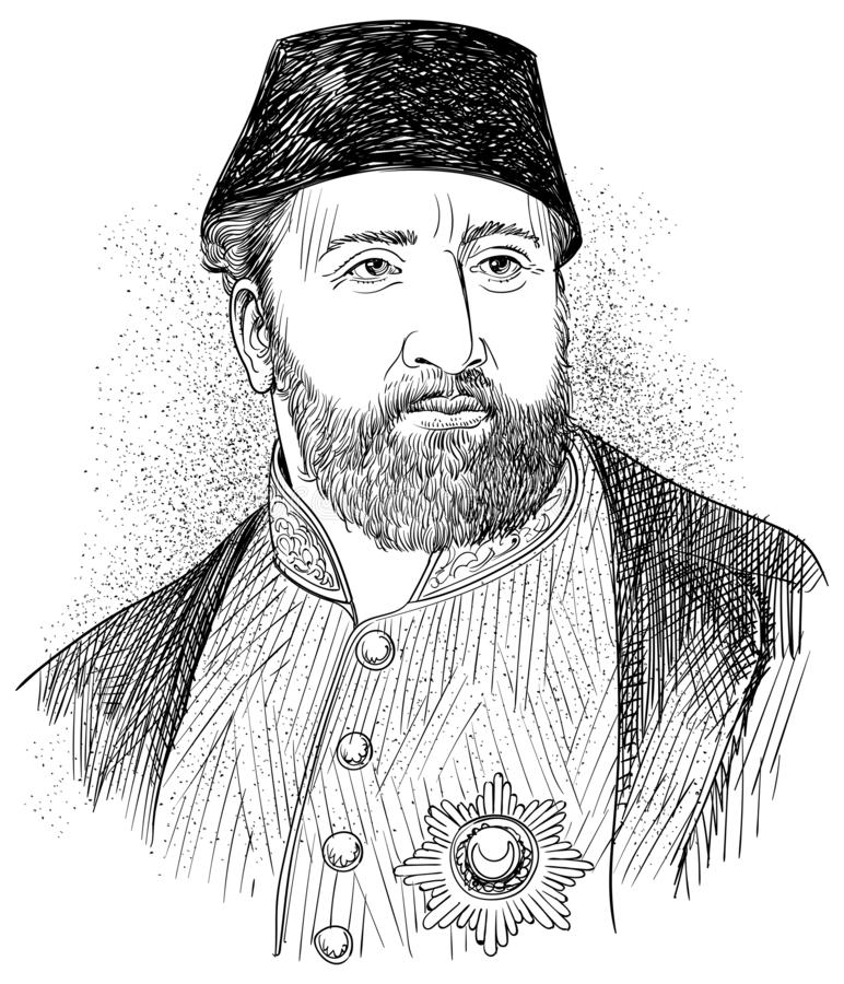 Free Ottoman Sultan Abdulaziz Portrait In Line Art Illustration Royalty Free Stock Photography - 140141267