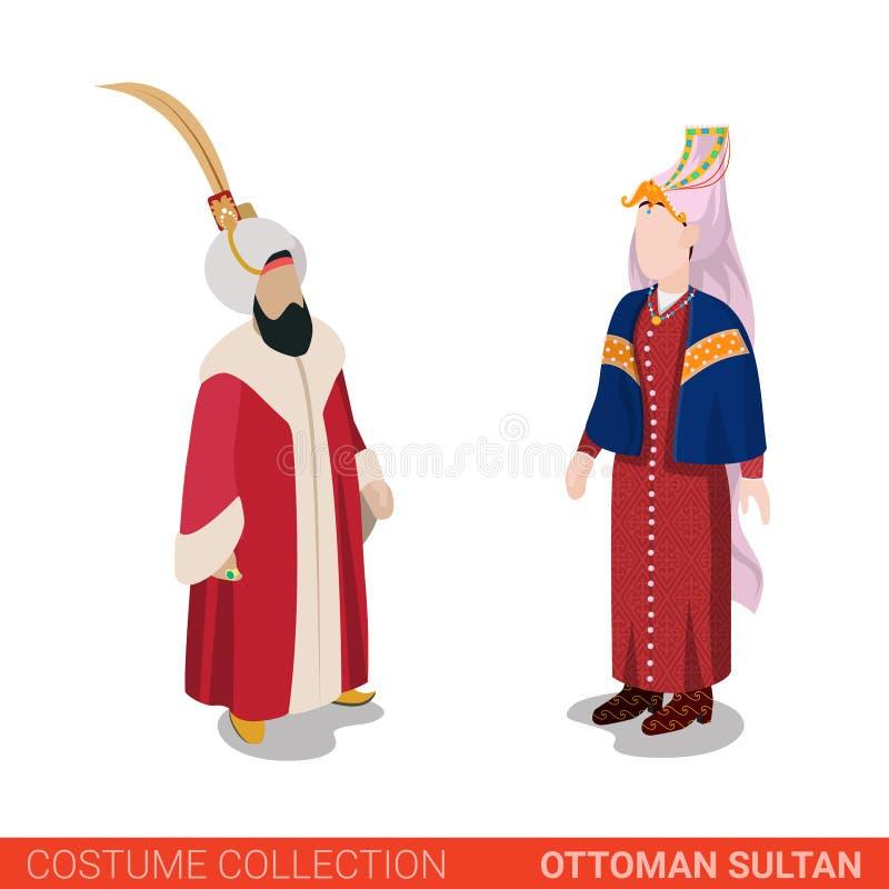 Ottoman sultan couple Turkey traditional costume vector flat stock illustration