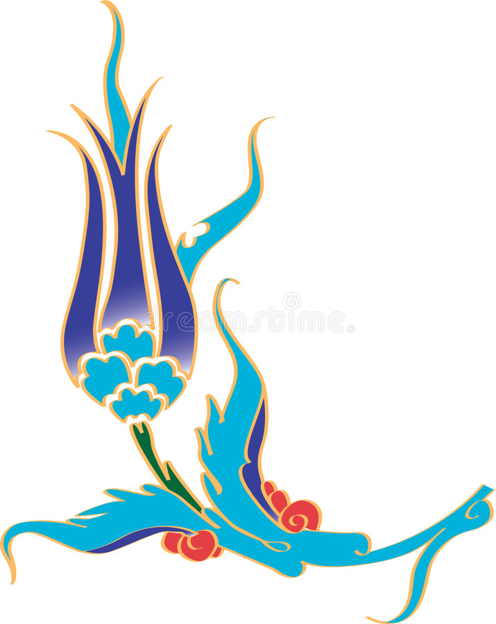 Ottoman tulip flower. Navy ottoman tulip flower with white backround stock illustration