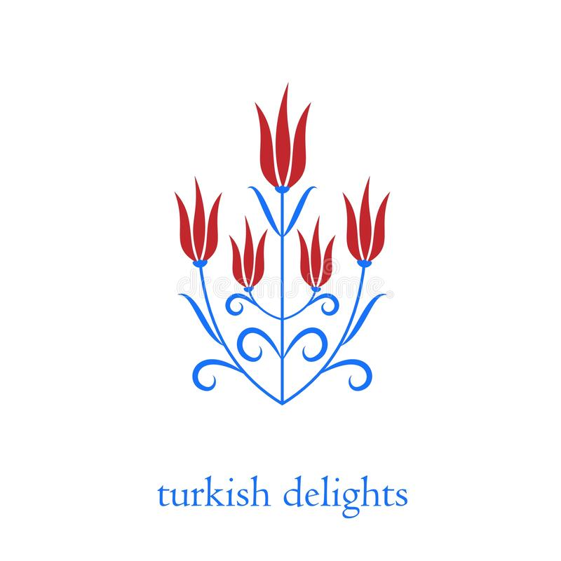 Ottoman turkish tulips vector illustration stock illustration