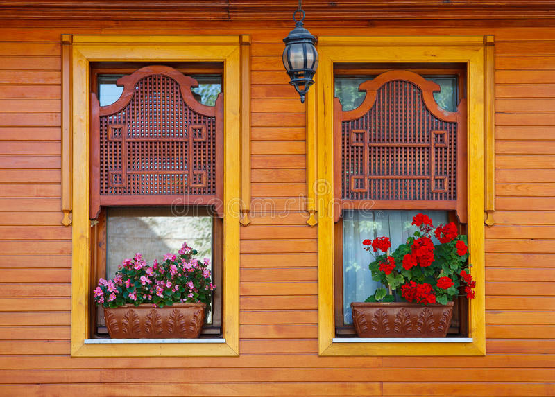 Ottoman wooden windows royalty free stock image