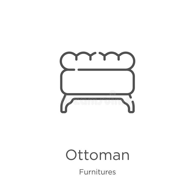 ottomansymbolsvektor från furnituressamling Tunn linje illustration för vektor för ottomanöversiktssymbol Översikt tunn linje ott stock illustrationer