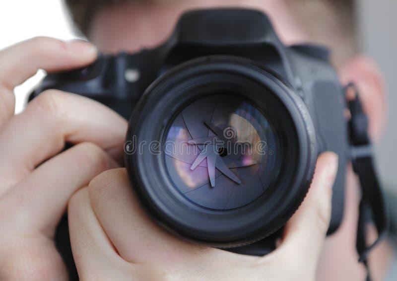 Otturatore dell'obiettivo di DSLR immagini stock libere da diritti