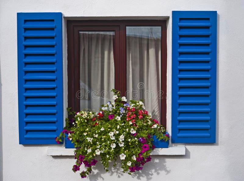 Otturatori dell'azzurro della finestra di Kinsale immagini stock
