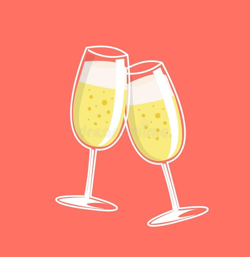 Otuchy, dwa szampańskiego szkła ilustracja wektor