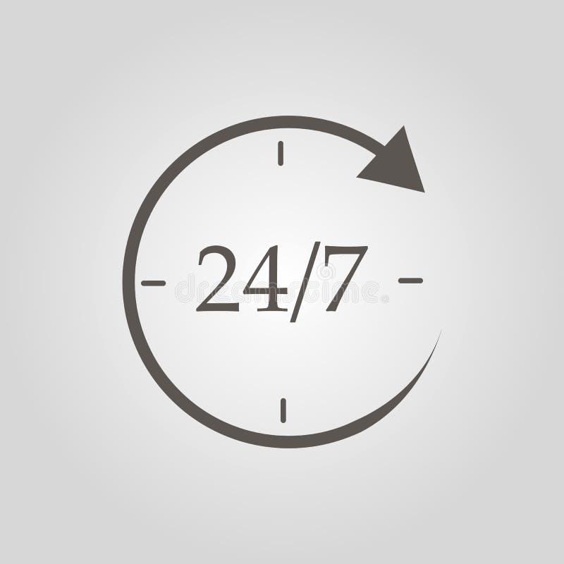 Otwórz ikonę 24 godziny na dobę i 7 dni w tygodniu w odosobnieniu na szarym tle. Ikona cykliczna całodziennej. Konstrukcja pł ilustracji