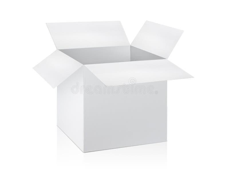 Otwórz puste pudełko kartonowe izolowane na białym tle royalty ilustracja
